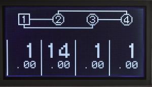 02 La programmazione delle frequenze per i quattro operatori, in alto lo schema dell'algoritmo