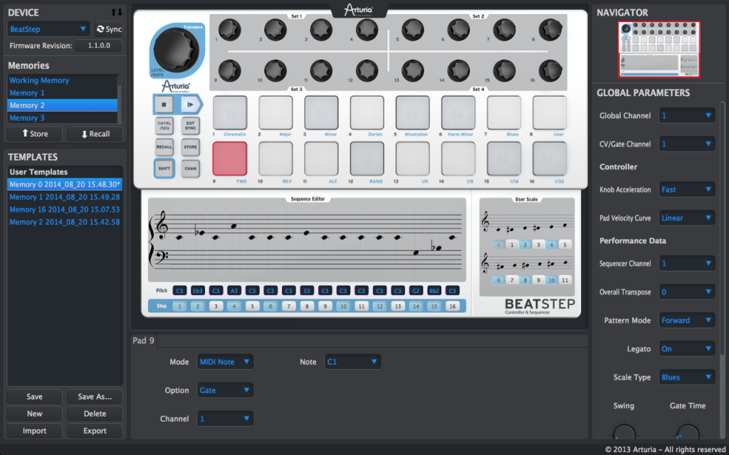 04. Finestra di programmazione del software di editing MIDI Control Centre, suddiviso in tre sezioni separate, ciascuna dedicata a differenti aspetti della programmazione
