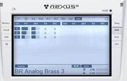 02.La finestra dedicata alla gestione dei layer del relativo preset