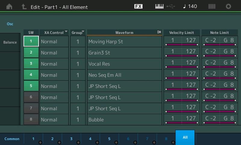 06 Una Part è composta da 8 Element, la più piccola parte di una Performance. Ciascuno riproduce una delle waveform in memoria o caricate da memoria USB