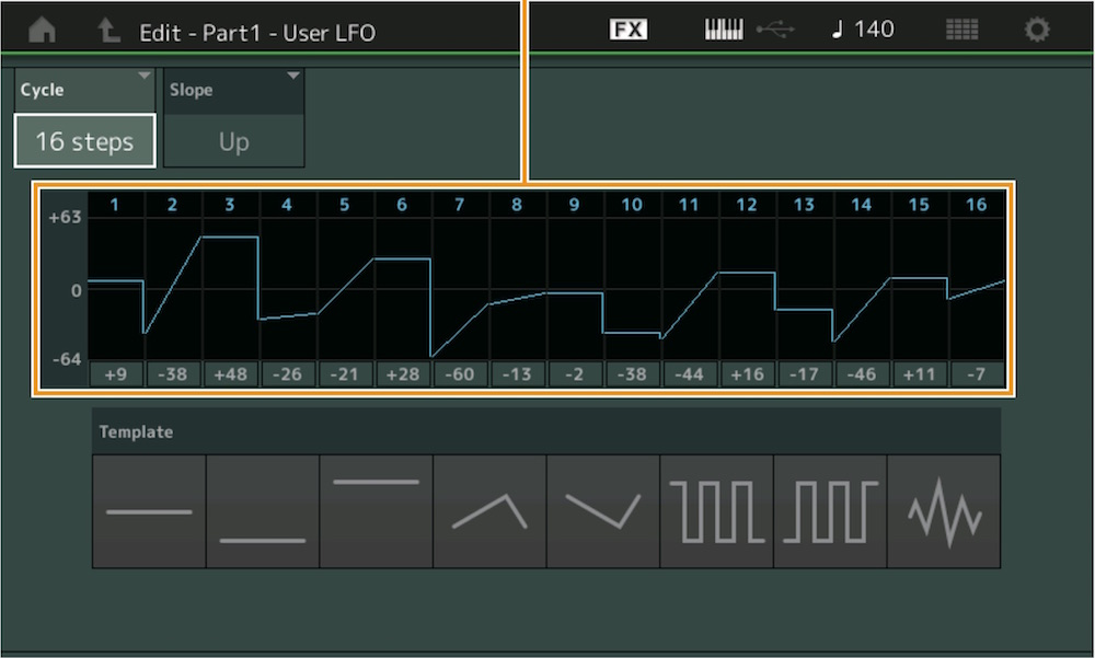 10 Con Montage è possibile disegnare la propria forma d'onda per l'LFO globale di una Part