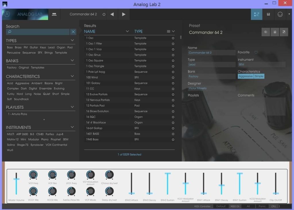 La modalità Playlist per la selezione degli oltre 5.000 preset nella Analog Lab 2