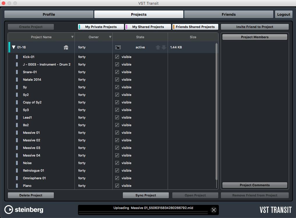 La schermata del VST Transit