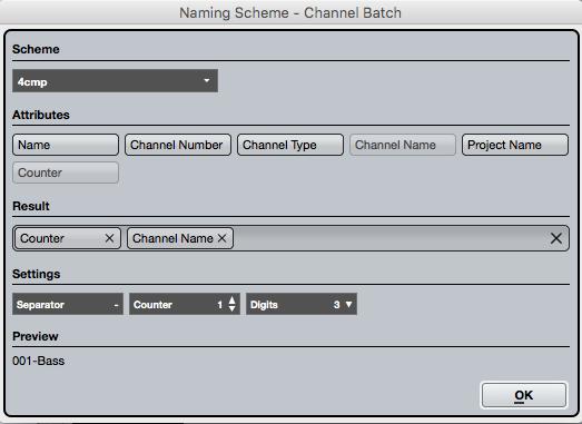 Le nuove opzioni di Naming Scheme ci permettono di rinominare facilmente le tracce esportate