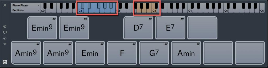 Nel Chord Pad possiamo visualizzare le note dal C1 al B1 utili a fare suonare gli accordi ineriti nei pad e le note dal G2 al C3 che funzioneranno da trigger per arpeggiare
