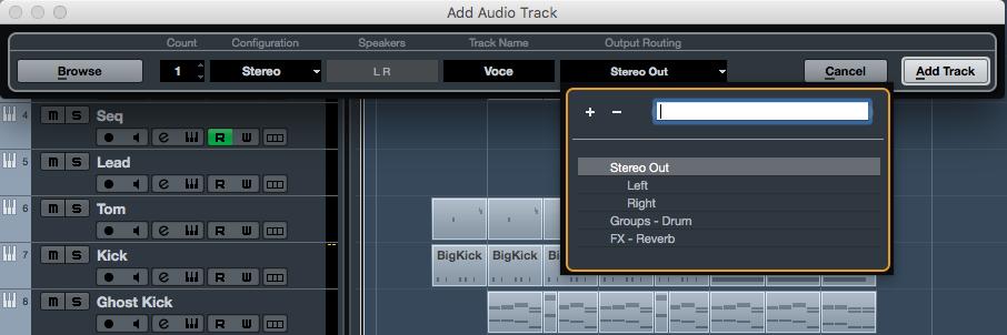 Quando creiamo una nuova traccia possiamo indirizzarla immediatamente ad un gruppo, ad un canale fx o ad un uscita fisica