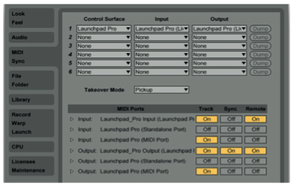 7 Configurazione MIDI di Ableton Live 9 per la corretta comunicazione con Launchpad PRO