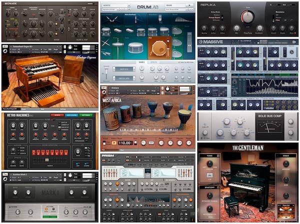 12 Panoramica dei virtual instruments ed effetti presenti nel pacchetto Komplete Kontrol, fornito in bundle con Maschine Jam