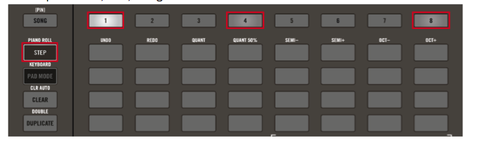 3 Modalità Step Sequencer. Selezionando i pulsanti Scene 1,4 o 8, si hanno tre differenti visualizzazioni dello Step Sequencer che permettono di programmare i pattern in differenti modalità
