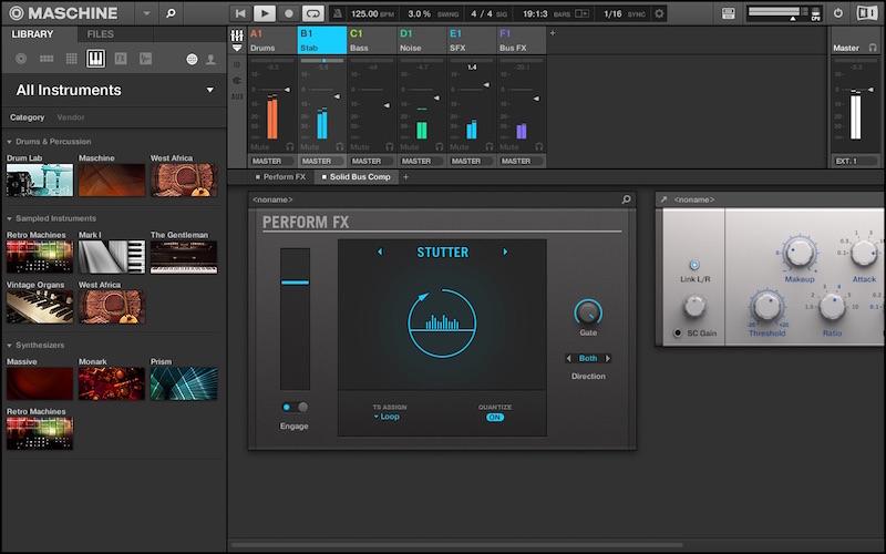 7 Visualizzazione dei Performance FX nella finestra Mixer di Maschine 2.5