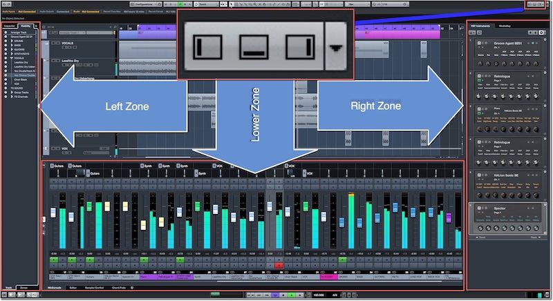 Disposizione di Left Zone, Rigt Zone e Lower Zone nella schermata utente