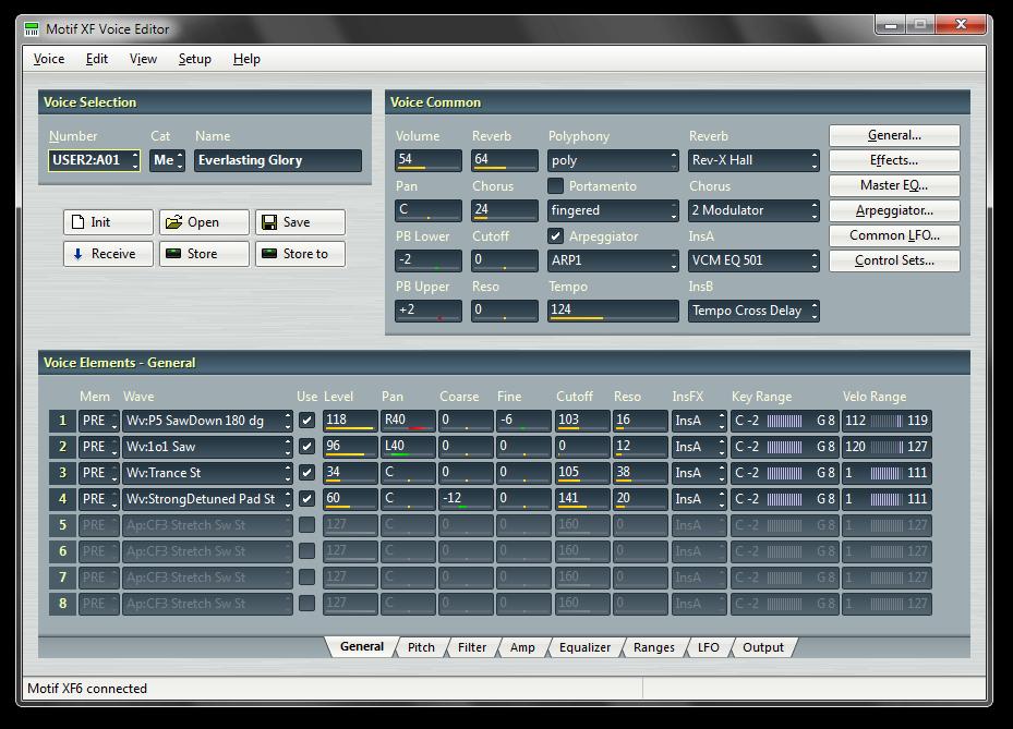 Il menu principale del software Voice Editor per MX realizzato da John Melas