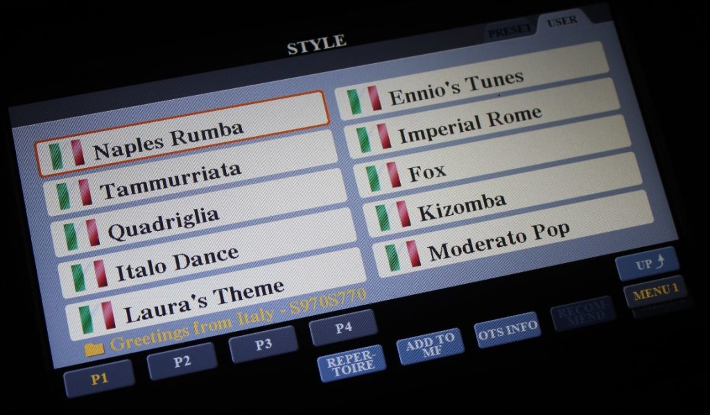 Ecco come si presenta il pack Greetings from Italy sulla pagina video di Yamaha Music Manager.