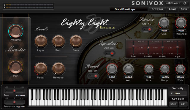 Il virtual instrument Sonivox Eighty Eight fornito gratuitamente tra i software in bundle