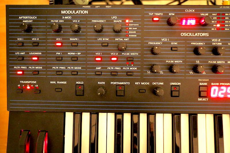 La sezione modulazione si trova all'estrema sinistra dei controlli