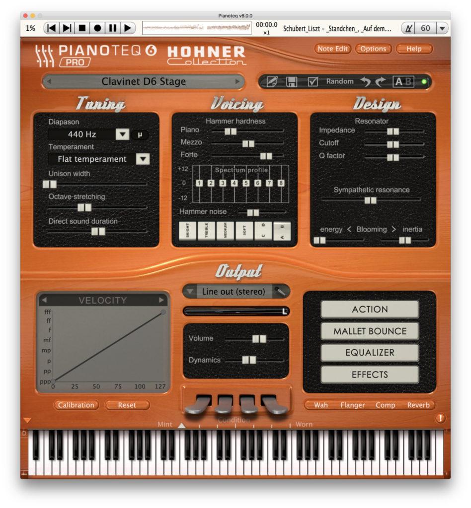 Pianotew 6: il menu dei modelli di Hohner Clavinet