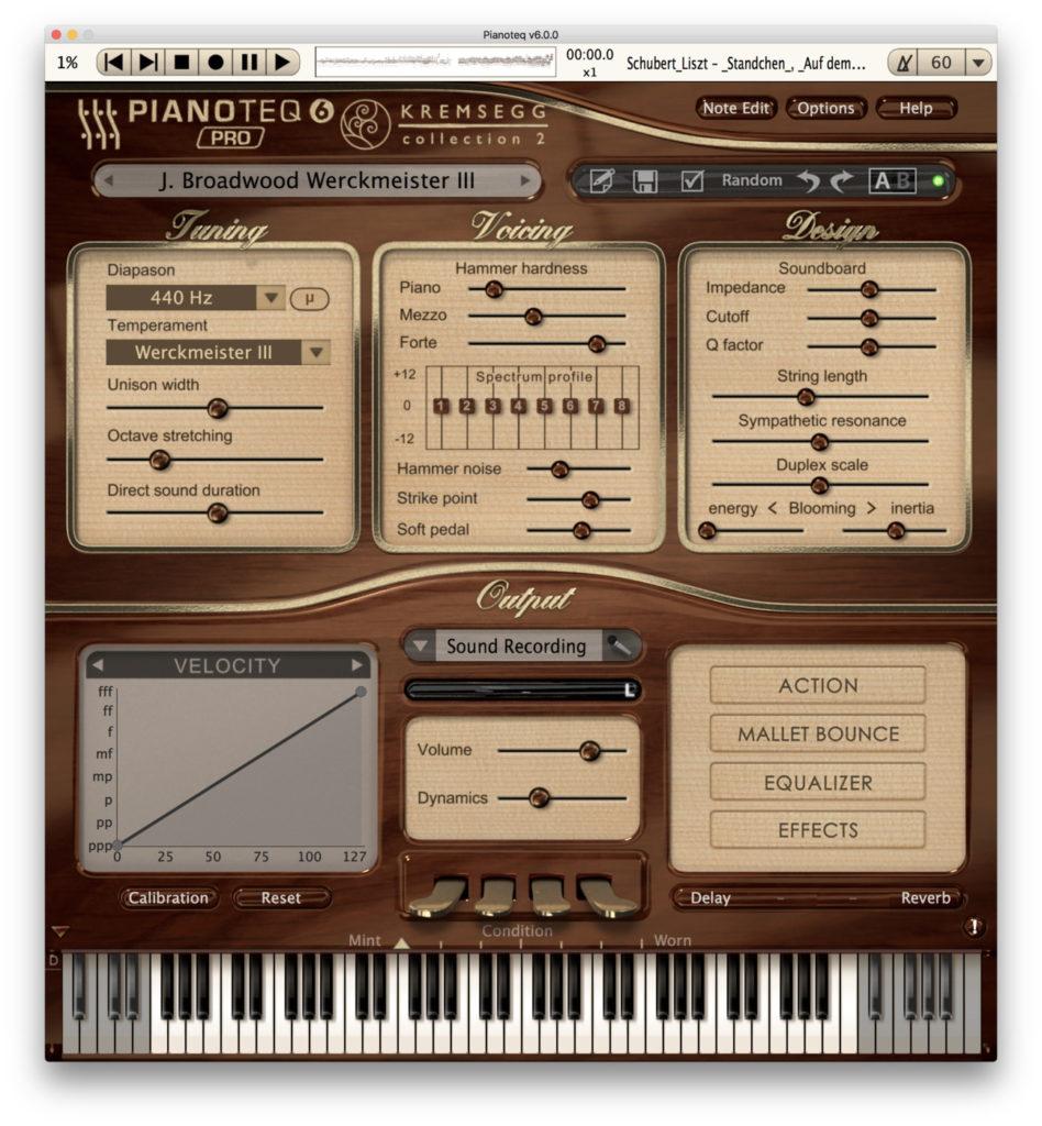 Pianotew 6: il menu dei modelli della collezione Kremsegg