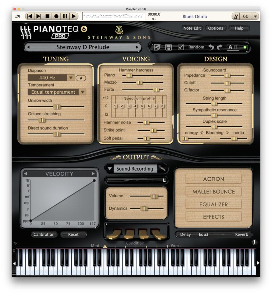 Pianoteq 6: il menu dei modelli di pianoforte Steinway&Sons, Gotrian, YC5, K2 e Blüthner