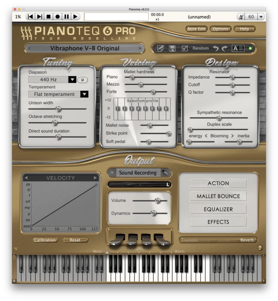 Pianoteq 6: l'interfaccia dedicata ai modelli di vibrafono