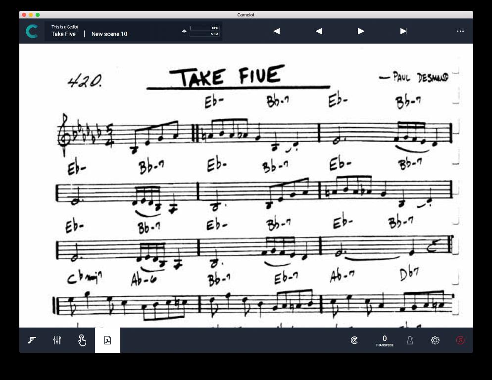 Camelot Pro: il menu di visualizzazione di testo e spartiti nel formato PDF