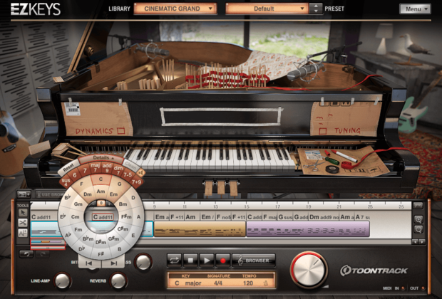 Toontrack EZkeys Cinematic Grand piano preparato virtual instrument