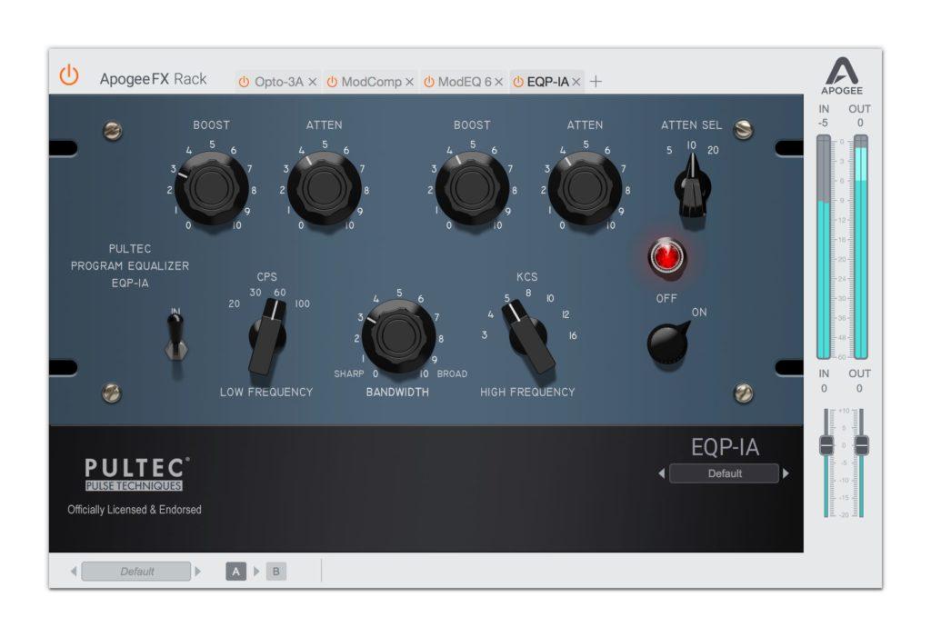 EQP-1A pultec Apogee FX Rack plug-in audio daw fx eq vintage modern software