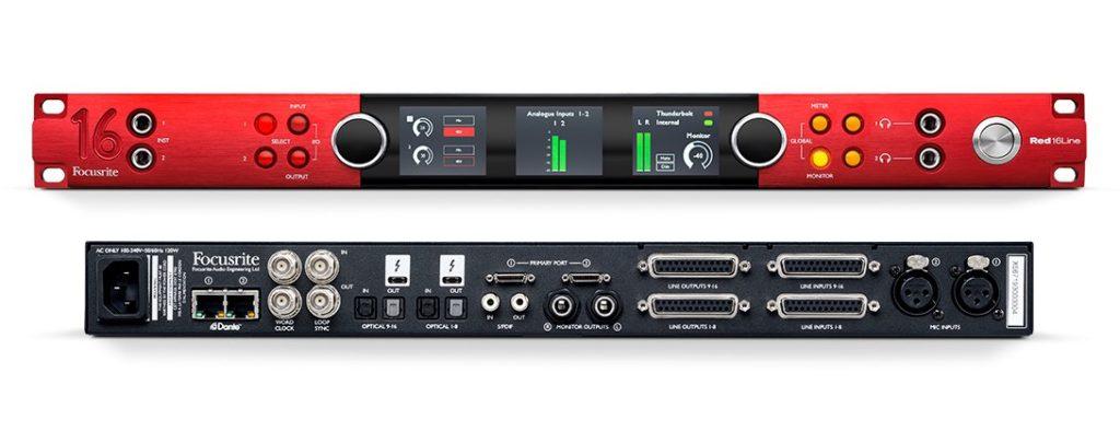Focusrite Pro Red 16 Line audio hardware over ip leading technologies audiofader