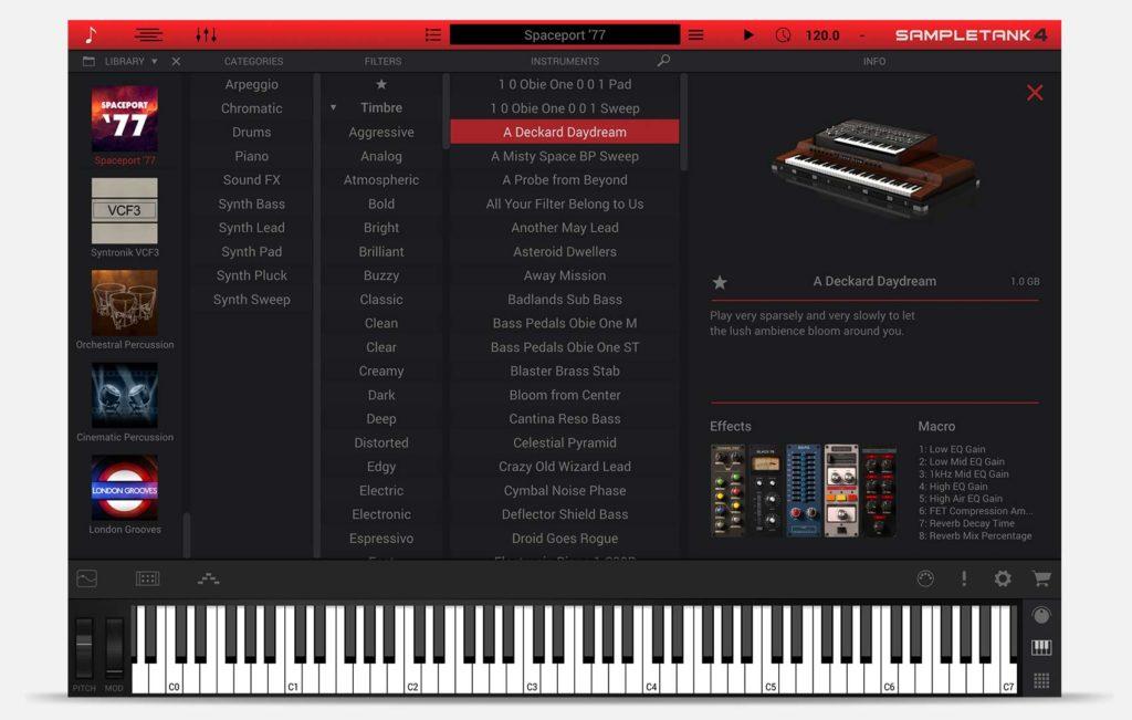 Ik Mutlimedia Spaceport '77 espansione sampletank4 producer virtual instrument synth strumenti musicali