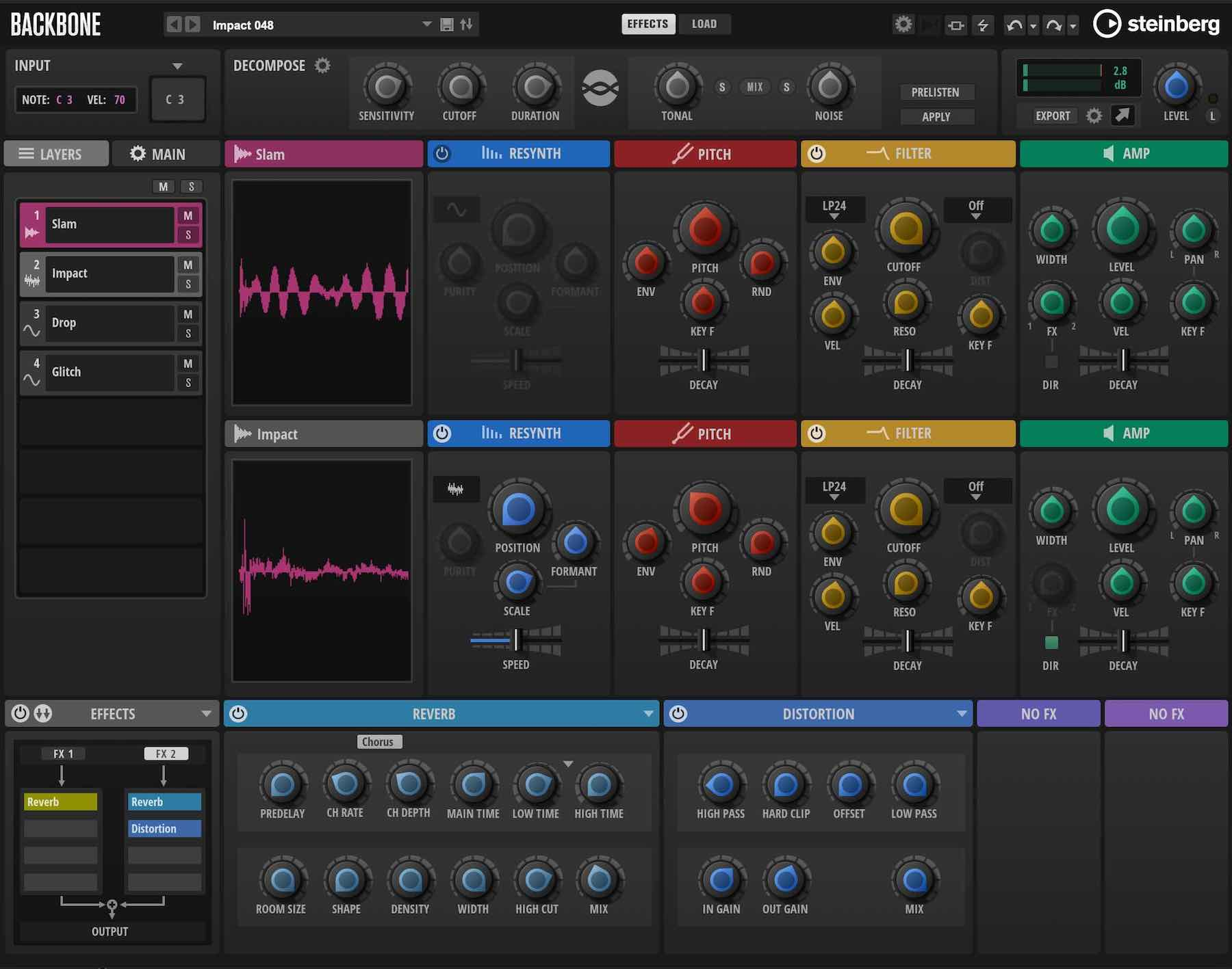 Steinberg Backbone plug-in audio pro resynth drums strumenti musicali producer