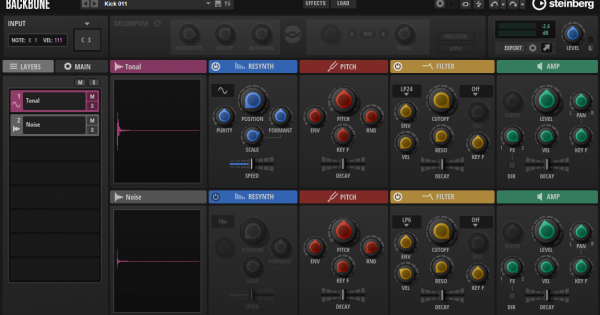 Steinberg Backbone GUI resynthesizer vst drum cubase percussive sound subacractive plug-in au music production sound design test pierluigi bontempi strumenti musicali
