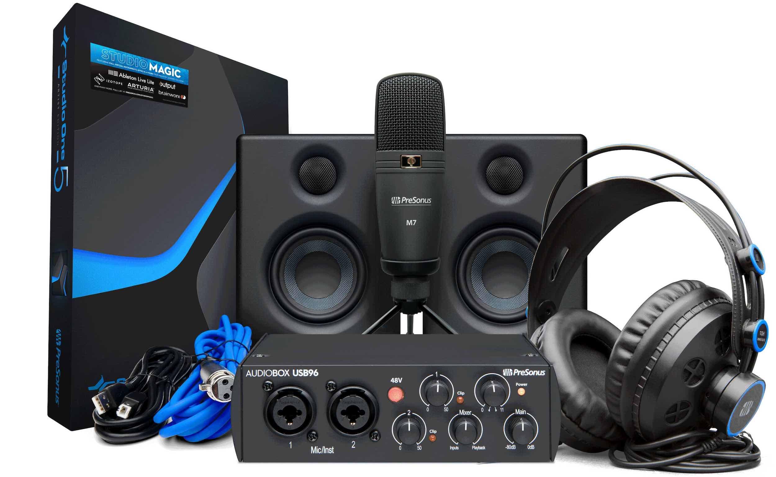 PreSonus Audiobox bundle 25th Anniversary Edition midi music studio one daw headphones m7 hd7 mic strumenti musicali