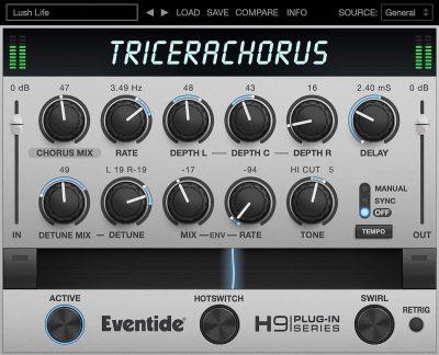 Eventide h9 TriceraChorus fx chorus plug-in audio software daw virtual strumenti musicali