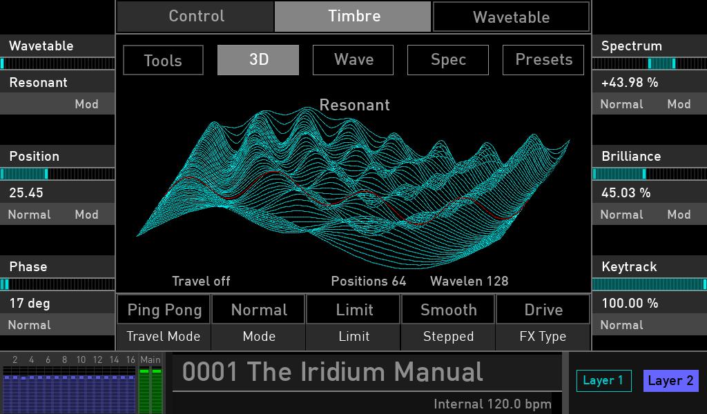 Waldorf Iridium synth test luca pilla sintetizzatore hardware digital soundwave display