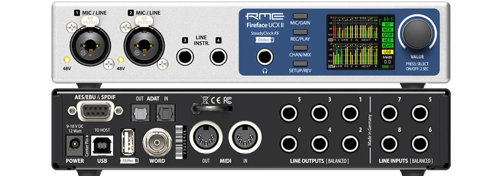 RME Fireface UCX II rec home studio recording midiware audiofader midi