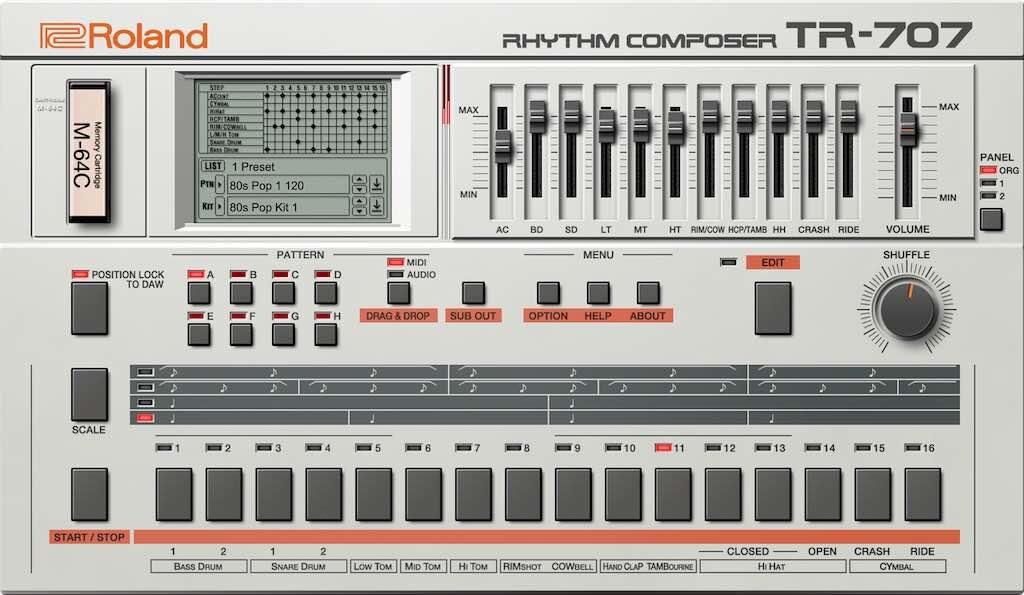 Roland Cloud TR-707 drum machine virtual instrument gratis free strumenti musicali