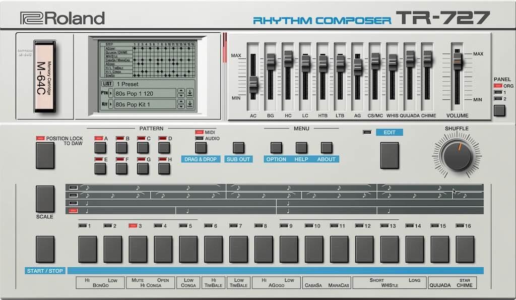 Roland Cloud TR-727 drum machine virtual instrument gratis free strumenti musicali